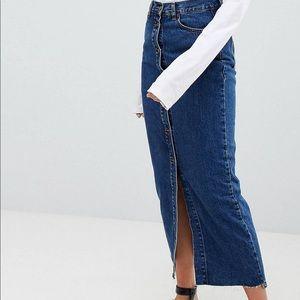 Dr Denim button front denim maxi skirt Size M